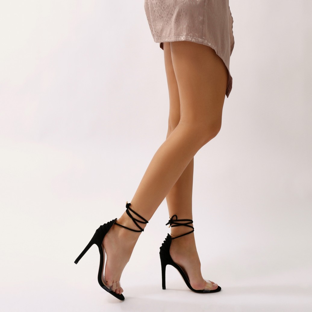 Up Faux Shoes Suede Stiletto Barely para Desire Heels Public Bare There mujer Lace qv0BwCT