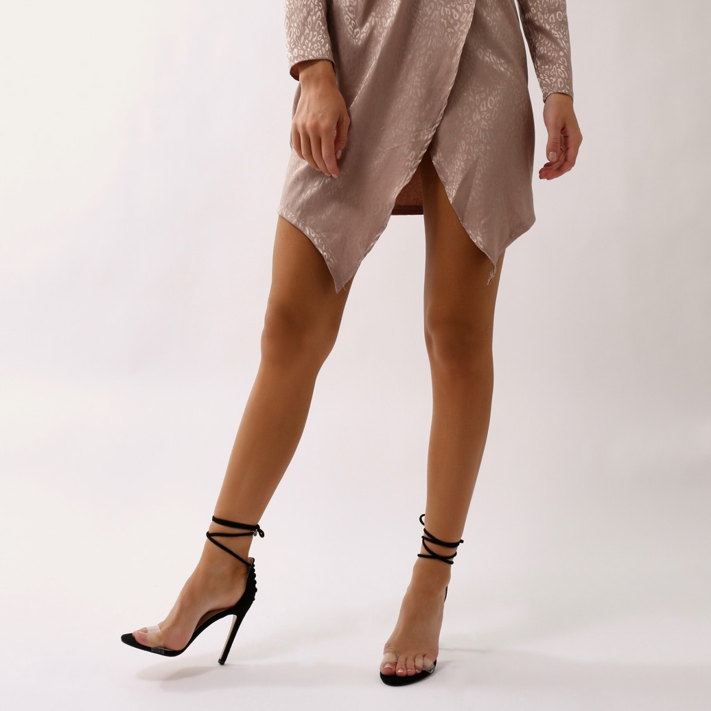 There Shoes Lace Bare Stiletto Up Suede Faux Heels Desire Public mujer para Barely FXwp4pRq