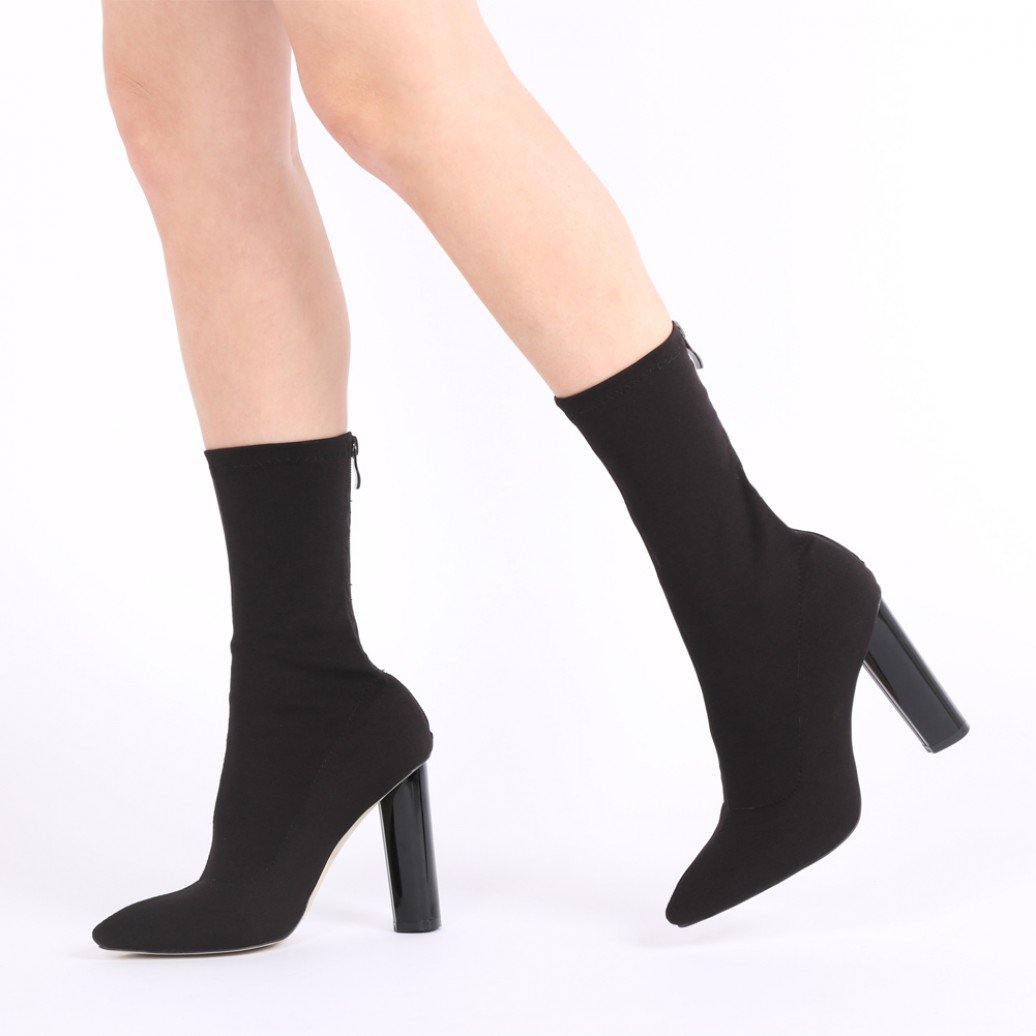 709b8395a7bc Public Desire Womens Cayden Heeled Sock Fit Boots Stretch High Shine Gloss  Shoes