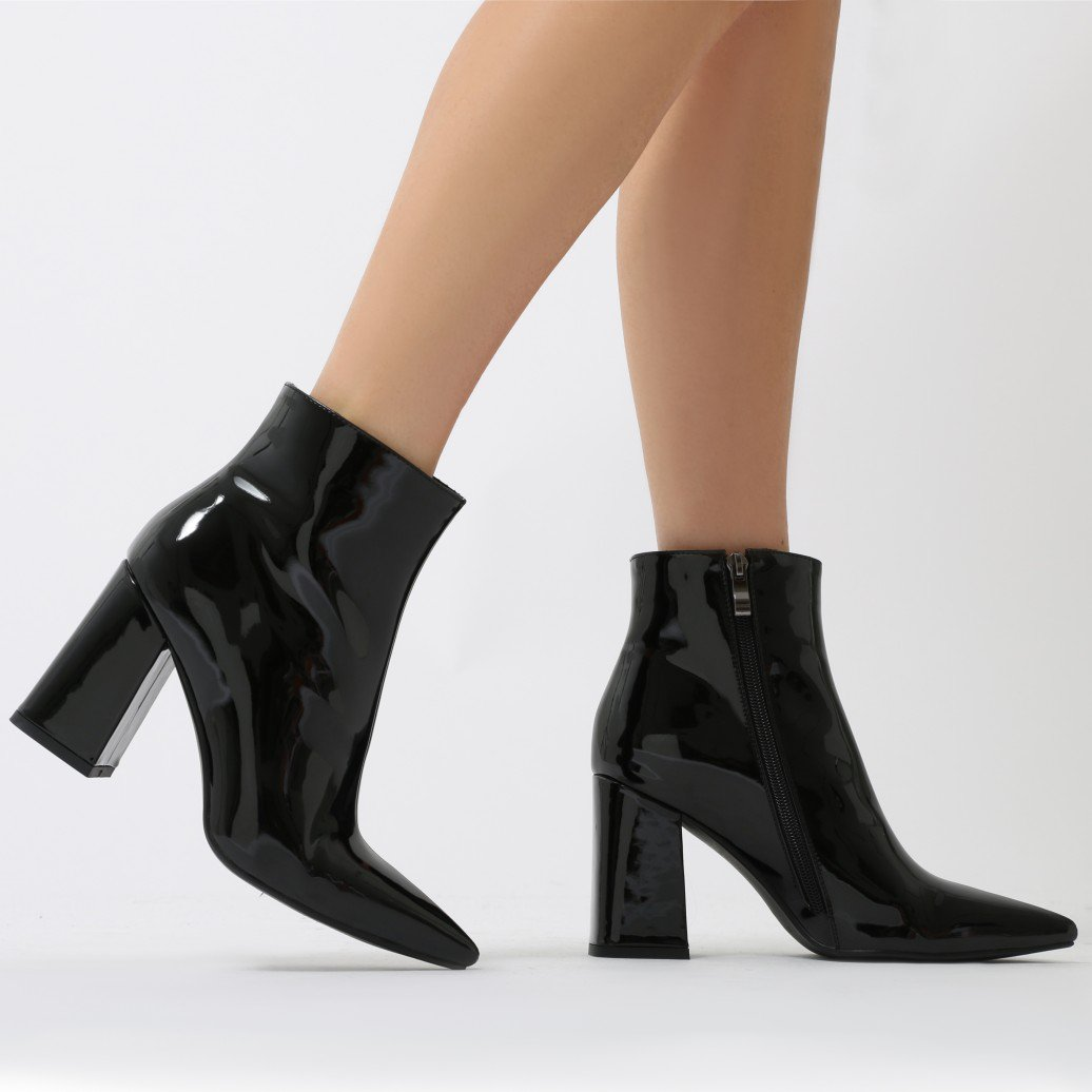 134efb8bd07 Public Desire Womens Empire Pointed Toe Ankle Boots Flared Block Heel Shoes