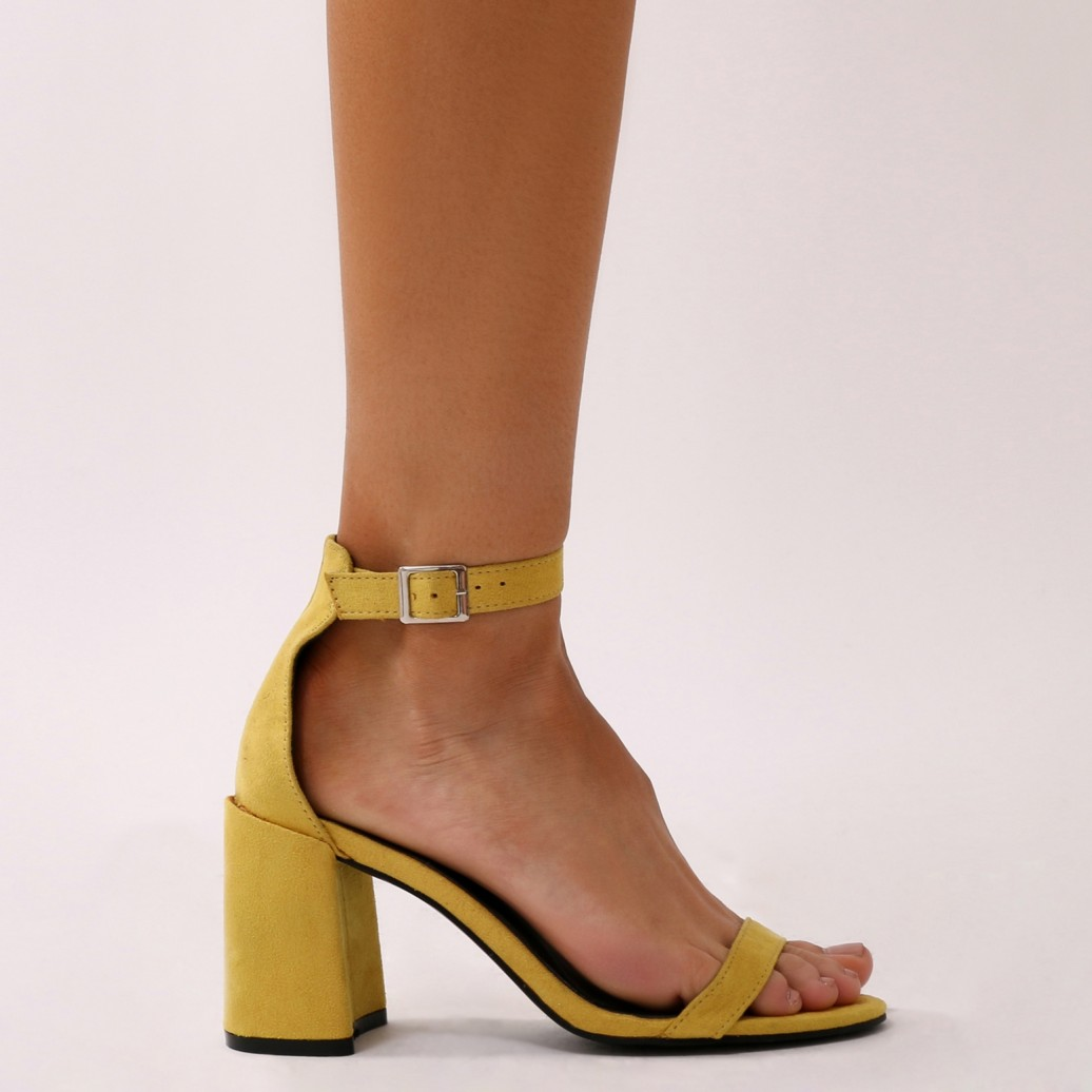 a1aab1231 Public Desire Womens Grier Low Block Heel Barely There Faux Suede ...