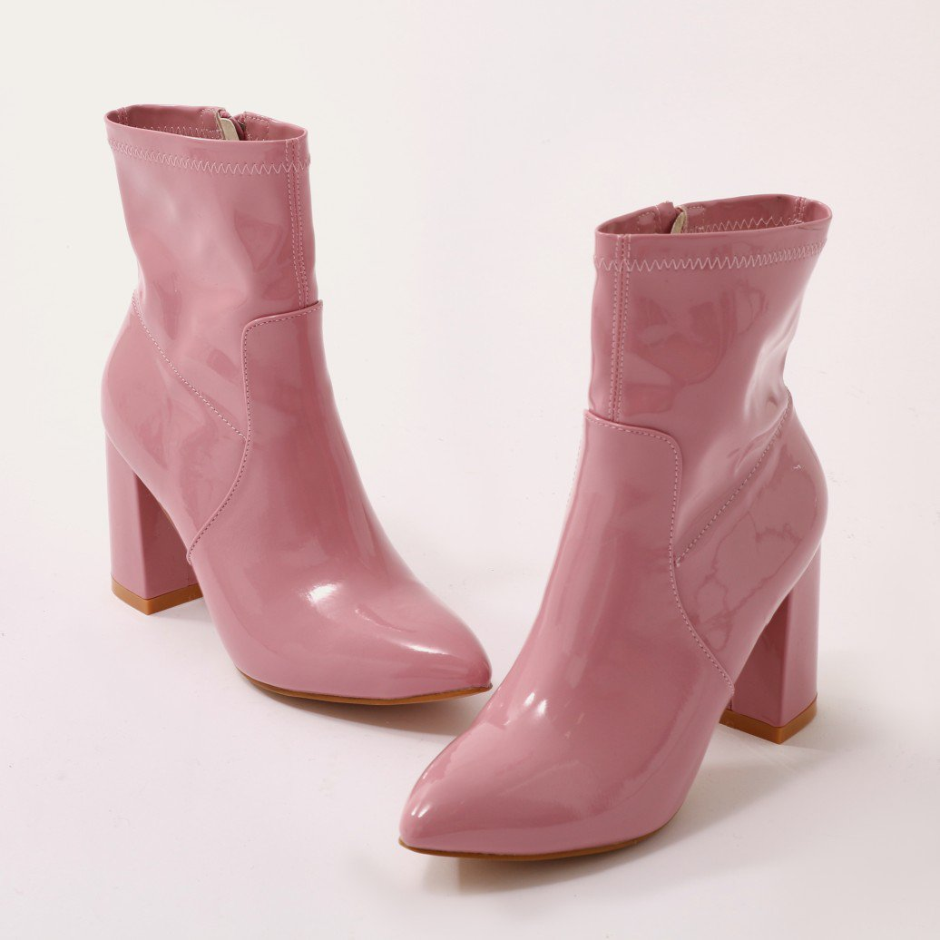 736d96f5e248 Details about Public Desire Womens Raya Pointed Toe Ankle Boots Sock Fit  Block Heel Shoes